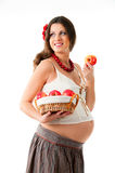 The image of a pregnant woman. The image of a pregnant woman with a basket of apples Royalty Free Stock Photography