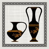 Antique amphora on a canvas,   illustration. Stock Photo