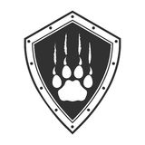 Army label a paw of a predator on a board. On the image presented Army label a paw of a predator on a board Royalty Free Stock Photos