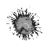 Fingerprint in grunge style paint. On the image presented Fingerprint in grunge style paint Royalty Free Stock Image