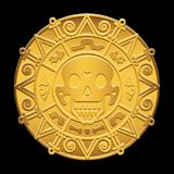 Gold medallion of pirates of the Caribbean Sea. On the image presented Gold medallion of pirates of the Caribbean Sea Stock Images