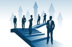 Group of entrepreneurs costs on the ladder going up representing the concept of success. On the image presented Group of entrepreneurs costs on the ladder going Royalty Free Stock Photo