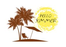 Hello summer of a palm tree on a tropical beach. Stock Photography
