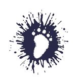 Imprint of the predator paw in perspective among mud splashes. On the image presented imprint of the predator paw in perspective among mud splashes Stock Photography