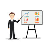 Man holds an economic seminar a vector illustration. On the image presented Man holds an economic seminar a vector illustration Royalty Free Stock Image