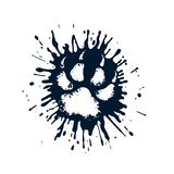 Predator paw print among the mud splashes. On the image presented predator paw print among the mud splashes Royalty Free Stock Photography