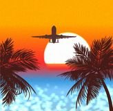 Sunset in tropics, a travel by planes a  illustration. Royalty Free Stock Photo