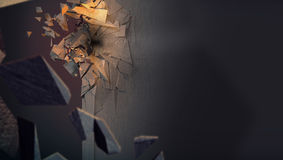 Image presenting smashed concrete wall royalty free stock images
