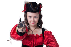 Image of pretty freckled pirate posing at camera Stock Images