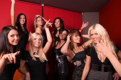 Image of pretty girls dancing in night club Stock Photo