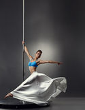 Image of pretty graceful girl dancing on pole Stock Images