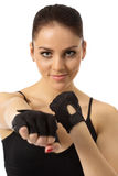 Image of pretty gray-eyed girl in training gloves Stock Images