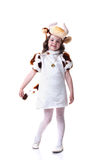 Image of pretty little girl in cow costume Stock Images