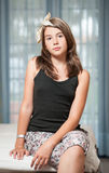 .Image of pretty teenager posing indoor in a good mood Stock Photo