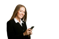 Image of pretty woman holding her mobile Stock Images