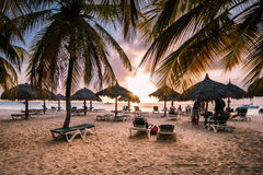 Mer des Caraïbes à l'aube Images libres de droits