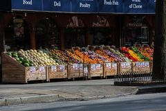 Produce lined up at a street market in New York City Stock Photography