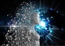 Image produite par Digital de l'humain 3d au-dessus du globe rougeoyant Photo stock