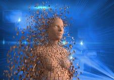Image produite par Digital de l'humain 3d sur le fond bleu Images libres de droits