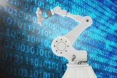 Image produite par Digital de robot tenant le morceau 3d de jeu Photo libre de droits