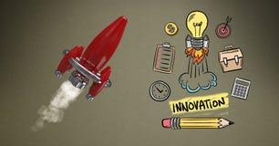 Image produite par Digital du vol de fusée par de diverses icônes sur le fond brun illustration stock