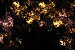 Image produite par Digital Fractale colorée, modèle de fête avec les boules décoratives de Noël image libre de droits