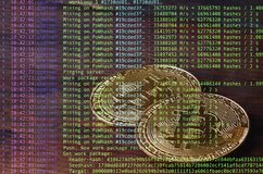 Image of the program code showing the process of mining the crypto currency in the background of the image with bitcoin royalty free illustration
