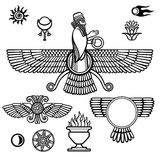 Image of the prophet Farvahar. Set of esoteric symbols. Stock Image