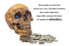 Image of psychology of investing concept. Human skull with dices and money coins and quote about investment risk royalty free stock images