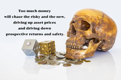 Image of psychology of investing concept. Human skull with dices and money coins and quote about investment risk Royalty Free Stock Photography