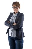 Image pudgy woman in glasses with arms crossed. On white background stock photo