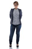 Image pudgy woman in jeans. On white background royalty free stock photos