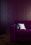 Image of the purple couch in the interior in dark colors. 3d illustration Stock Photos
