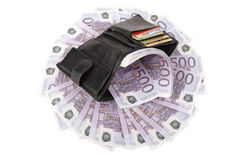 Image of purse with euros. On white Royalty Free Stock Photography