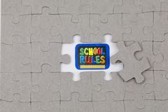 Image of Puzzle piece with school rules. Business, assemble. Image of Puzzle piece with school rules , Last piece of jigsaw puzzle , Vector transparent puzzle on royalty free stock photography