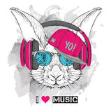 The image of the rabbit in the glasses, headphones and in hip-hop hat. Vector illustration. Stock Image