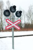 Railway crossing signs Stock Photography