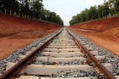 Railway Track Under Construction in Steel Plant. Image of a Railway Track Under Construction in Steel Plant stock image