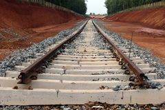 Railway Track Under Construction in Steel Plant. Image of a Railway Track Under Construction in Steel Plant stock photography