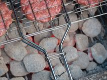 Image of bbq burger patties on grill stock photos