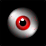 Image of realistic human eye ball with red pupil, iris. Vector illustration  on black background. Royalty Free Stock Images