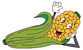 Reclining Corn on The Cob Cartoon royalty free stock photography