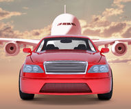 Image of red car with jet Stock Photo
