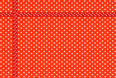 Image of red fabric with white polka dots close-up. Image of red fabric with white polka dots closeup Stock Photography