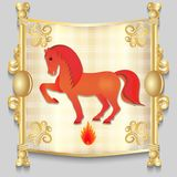 Image of a red horse. On the eastern calendar. Vector illustration Stock Photos