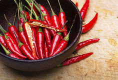 Image of Red Hot Chili Peppers in bowl Stock Photo