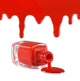 image of red nail polish and heart on a red background Stock Image