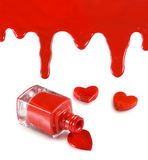 image of red nail polish and heart on a white background Royalty Free Stock Photos