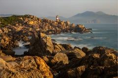 A lighthouse on the rocks