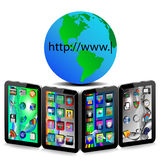 Tablets and Earth Royalty Free Stock Images
